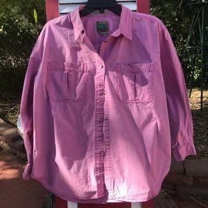 Royal Robbins Pink Cotton Button-Down Blouse EUC